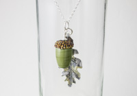 Acorn and Leaf Pendant Necklace