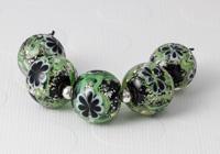 Black Lampwork Flower Beads