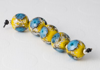 Yellow Lampwork Flower Beads