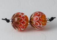 Orange Lampwork Dahlia Bead Pair
