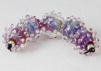 Pink Silver Glass Bumpy Beads