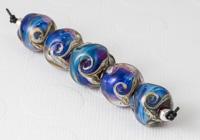 Silver Glass Swirl Nugget Beads