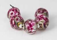 Pink Swirl Nugget Lampwork Beads