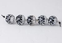 Black and White Dahlia Lampwork Beads