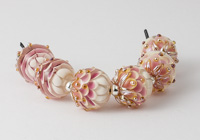 Pink Lampwork Dahlia Bead Pairs