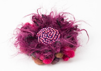 Pink Fluffy Flower Brooch