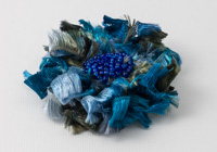 Blue Ribbon Flower Brooch
