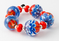 Zingy Lampwork Dahlia Beads