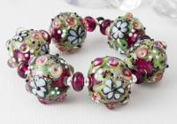 Large Glittery Flower Lampwork Beads