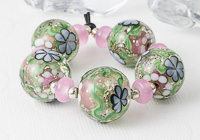 Pink Glitter Flower Lampwork Beads