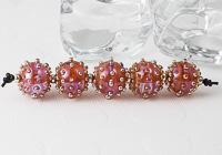 Pink Dotty Lampwork Beads