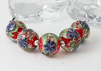 Red Lampwork Flower Beads