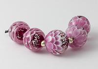 Pink Glitter Lampwork Dahlia Beads