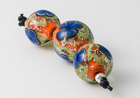 Orange and Blue Lampwork Flower Beads