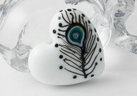 White Heart and Feather Lampwork Bead