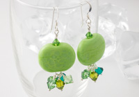 Green Pebble Lampwork Earrings