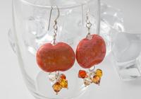 Coral Pebble Lampwork Earrings