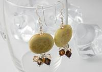 Honey Pebble Lampwork Earrings