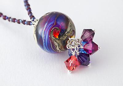 """Lampwork Necklace """"Fire Opal"""""""