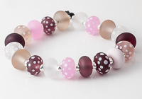 Pink Stone Tumbled Lampwork Beads