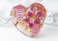 Flower Heart Lampwork Bead alternative view 1