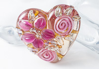 Flower Heart Lampwork Bead