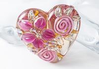 Flower Heart Lampwork Bead