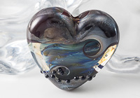 Silver Glass Lampwork Heart Bead