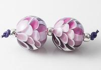 Pink Rainbow Dahlia Lampwork Beads