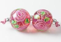 Dichroic Lampwork Rose Beads