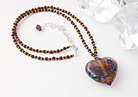 "Lampwork Heart Necklace ""Sublime"""