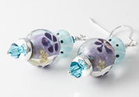 Purple and Turquoise Lampwork Earrings