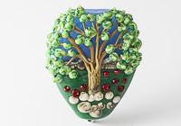 Poppy Field Tree Lampwork Bead