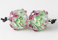 Purple Flower Lampwork Dahlia Bead Pair