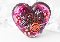 Sparkly Flower Heart Lampwork Bead