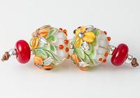 Flowery Dahlia Lampwork Beads