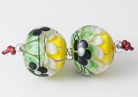 Black Flower Dahlia Lampwork Beads