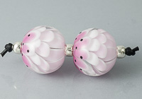 Pink Dahlia Lampwork Beads