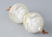 White Dahlia Lampwork Beads alternative view 1