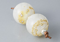White Dahlia Lampwork Beads alternative view 2