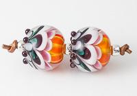 Orange Dahlia Lampwork Beads