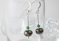 Metallic Green Lampwork Earrings