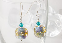 """Shimmer Waves"" Lampwork Earrings"