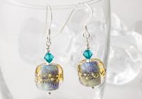 """Shimmer Waves"" Lampwork Earrings"