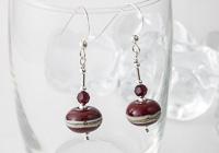 Dark Red Silver Earrings
