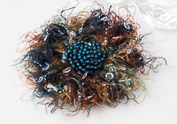 Teal and Brown Beaded Brooch