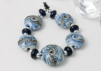 Marbled Blue Lampwork Lentil Beads