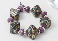 Purple Lampwork Bicone Beads