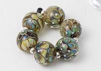 Silver Glass Lampwork Dahlia Beads