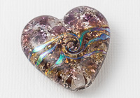 Purple Glittery Heart Lampwork Bead